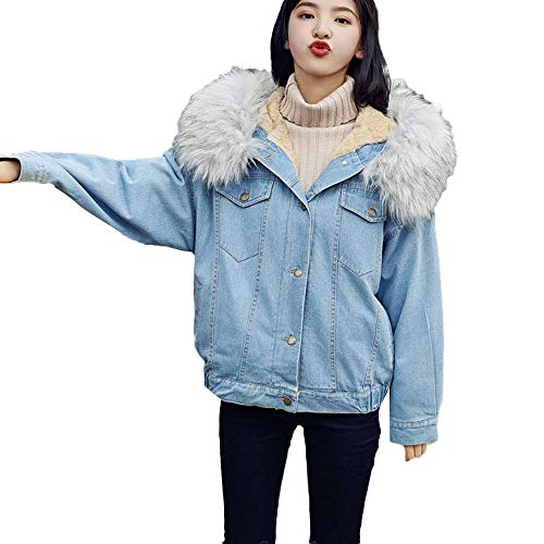 女性冬季牛仔夹克翻倒复古连帽长袖宽松的牛仔裤外套