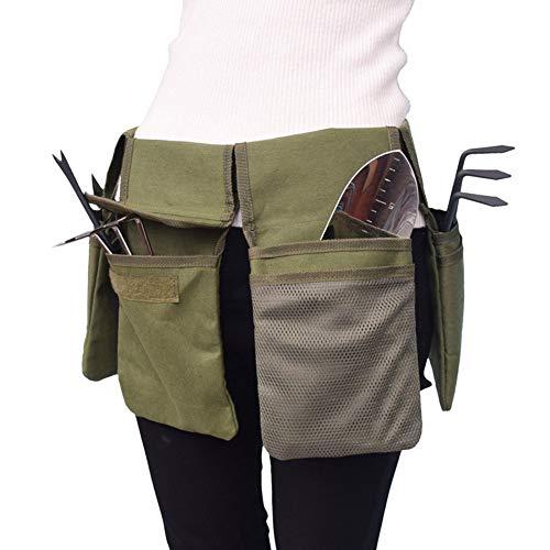 Canvas Garden Tool Belt,Gardening Tool Belt Bag,Canvas Waist Tool Apron Organizer Hanging Pouch with 4 Pockets, Waterproof (army green)