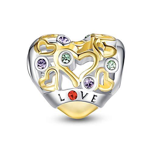 Glamulet Love Charm 925 Sterling Silver Heart Shape Bead Gold Charm Fit DIY Pandora Charm Bracelet&Necklace for Women