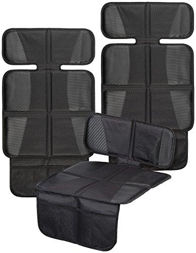 Lescars Kindersitzunterlage: 2er-Set Kindersitz-Unterlage Basic, 3 Netztaschen, Isofix-geeignet (Sitzschutz Kindersitz)