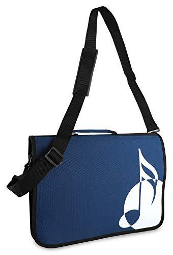 Classic Cantabile Notentasche - Tasche für Musikunterricht und Musikalische Früherziehung - Für Noten im DIN- und US-Format - Schultergurt - Innenfächer für Utensilien - Musik-Design - blau