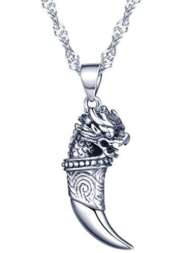 Yumilok 925 Sterling Silber Punk Löwe-Kopf Wolfszahn Charm Anhänger Halskette Kettenanhänger für Damen Kinder