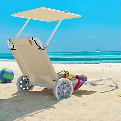 Sunloungers foldable reclining lounger With wheels, Adjustable backrest and awning Reclining Chairs For outdoor gardens patio beach