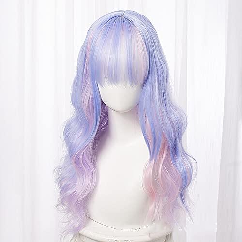 MMMRRTIME Dream Rainbow Pelucas, Azul Rosa púrpura Ombre Pelucas largas Largas Wavy Disfraz de Anime Diario Cosplay Peluca sintética Resistente al Calor
