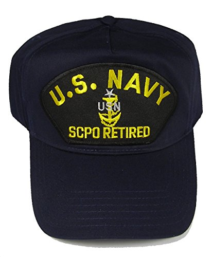 U S Navy SCPO Retired with Senior Chief Anchor HAT - Navy Blue - Veteran Owned Business