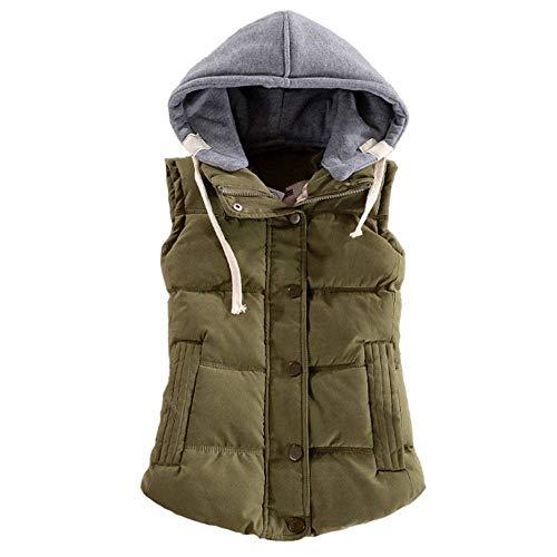 WANCHDP Chaleco para mujer, delgado, sin mangas, acolchado, extraíble, con capucha, piel de melocotón, talla M-6XL
