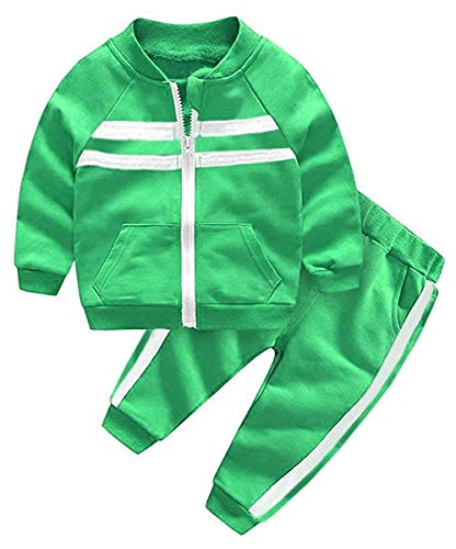 Kids Outfit, Varsity Track Jacket with Stripes & Sports Jogger Sweat Pants Set Sweat Suit Tracksuit for Toddlers, Little Boy & Girls, Green, 7-8 Years = Tag 15
