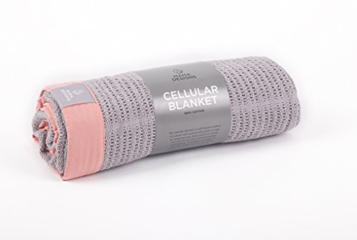 Deluxe Cotton Cellular Baby Blanket - Cot blanket or Cot bed -120cm x 100cm (cot, Grey & Pink)