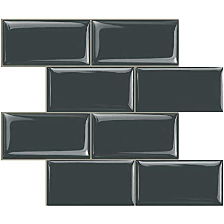 STICKGOO Peel and Stick Subway Tile, Stick on Tiles Backsplash for Kitchen & Bathroom in Dark Grey (Pack of 10, Thicker Design)
