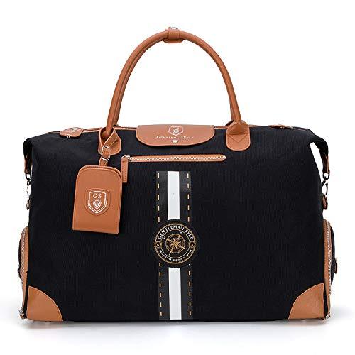GENTLEMAN SYLT Reisetasche mit Notebookfach, modischer Weekender, Sporttasche mit Schuhfach, Dufflebag 42-51l schwarz