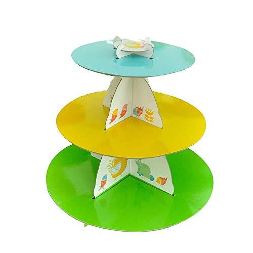 Yaeeee Norte de Europa 30cm de Altura Baby Shower Cupcake Stand invitación de Boda de Soporte de la Torta de 3 gradas de la Magdalena té de la Tarde Treat Display-aleatoria Partido alimento colorante