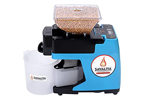 Savaliya Industries SI-801 Automatic Cold Press Oil Maker Machine,Pure & Fresh Healthy Oil Press Machine, Made in India White (Blue)