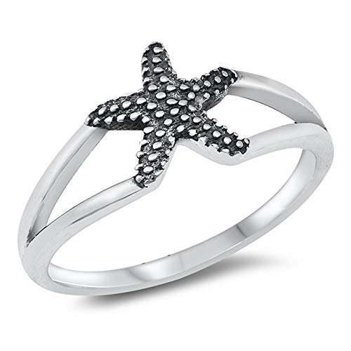 Unique Realistic Oxidized Starfish Animal Ring New .925 Sterling Silver Band Size 9