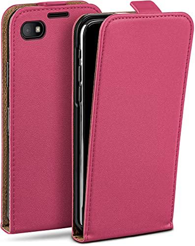 moex Flip Hülle für BlackBerry Z30 - Hülle klappbar, 360 Grad Klapphülle aus Vegan Leder, Handytasche mit vertikaler Klappe, magnetisch - Pink