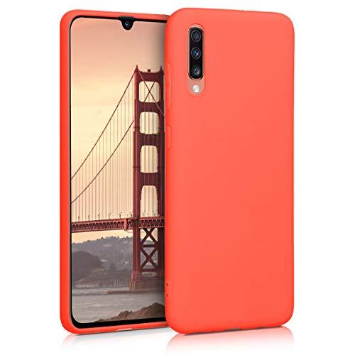 kwmobile Coque Compatible avec Samsung Galaxy A70 - Housse de téléphone Protection Souple en Silicone - Orange Fluo