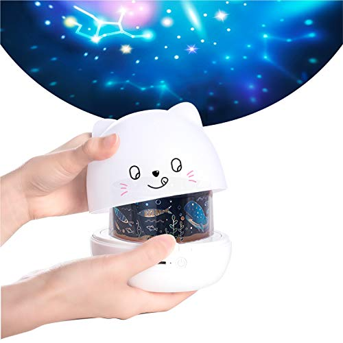 amezin Star Projector Night Light for Kids,Cute Cat Rotating 360 Rechargeable Galaxy Light Projector,Nursery Sky Lights for Bedroom with 6 Films Projector Light for Baby Children Toddler