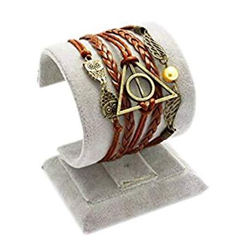 KBDSM Harry Potter Friedenstaube geflochtenes Armband Mychampion Deathly Hallows Logo-Snitch-Flügel-Hedwig-Anhänger 3 in 1 Handgemachtes Armband