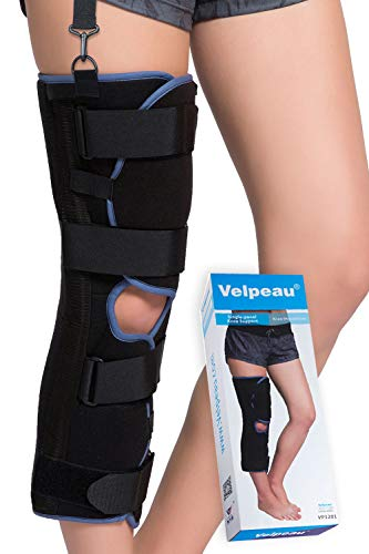VELPEAU Knee Immobilizer - Full Leg Brace - Straight Knee Splint - Comfort Rigid Support for Knee Pre-and Postoperative & Injury or Surgery Recovery (22' - Large)
