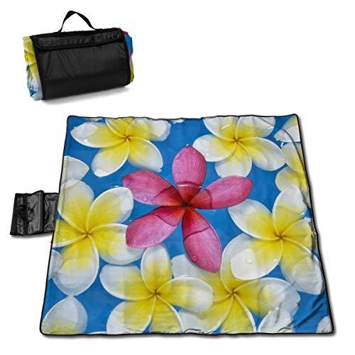Suo Long Fleurs de frangipanier Jaune avec Une Seule Couverture de Pique-Nique Rouge avec Un Tapis de Pique-Nique en Plein air pour Le Camping Beach Park Lawn