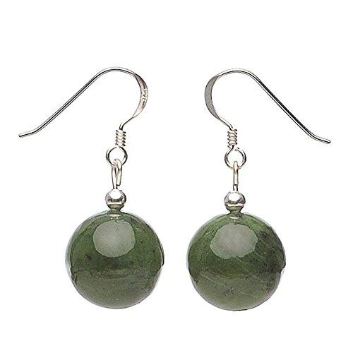 Ohrringe Ohrhänger aus echter Jade 925 Silber grün dunkelgrün Ohrschmuck Damen