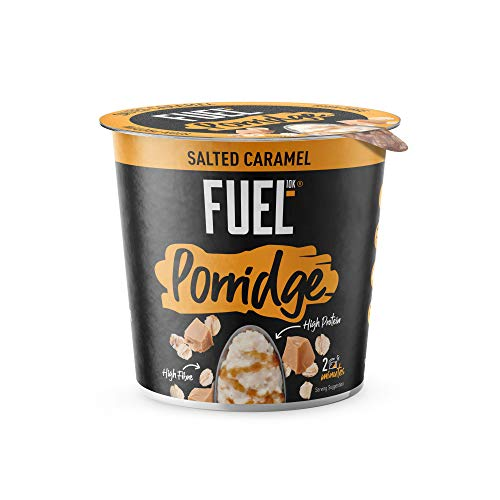 FUEL10K Porridge Pots, Salted Caramel - 8x70g - High Protein On The Go Breakfast