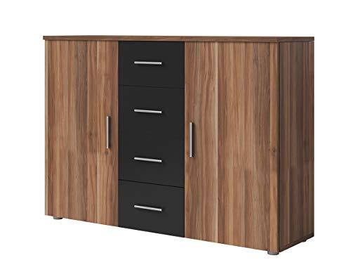 Furniture24 Kommode Vera - 26, Sideboard mit 4 Schubladen und 2 Türen (Nußbaum Rot/Schwarz)