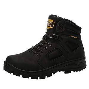 Botas De Invierno Botas Cálidas para Hombres Botas Impermeables Antideslizantes Botas De Senderismo Botas De Nieve Negro 40