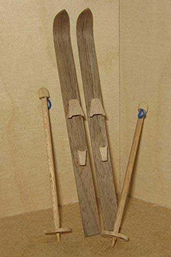 Liebe HANDARBEIT 46061 Miniatur Ski mit Skistöcken Holz 536