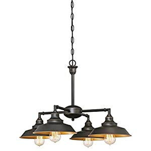 Westinghouse Lighting 6345000 Iron Hill Four-Light Finish with Highlights Indoor Chandelier/Semi-Flush Ceiling Fixture, 4, Oil Rubbed Bronze/Bronze