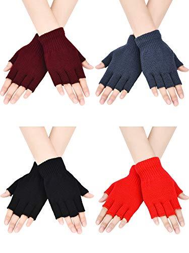 Bememo 4 Paar Fingerlose Handschuhe Halber Finger Fäustlinge Winter Einfarbig Gestrickte Typing Handschuhe für Jungen und Mädchen (Farbe Set 1)