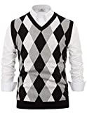PAUL JONES Mens Soft Argyle V-Neck Sleeveless Pullover Sweater Vest White 2XL from