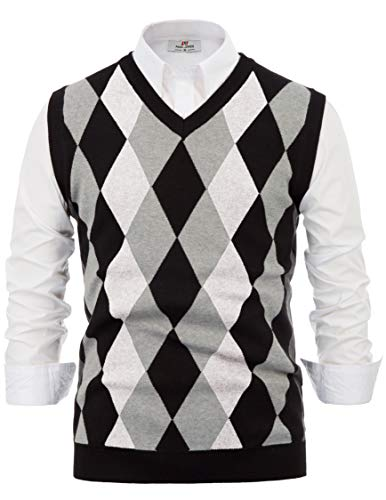 Mens Classic V-Neck Argyle Sweater Vest Lightweight Pullover Vest White S