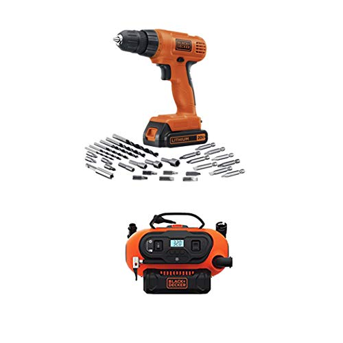 BLACK+DECKER LD120VA 20-Volt Max Lithium Drill/Driver with 30 Accessories and 20V Lithium Cordless Multi-Purpose Inflator (Tool Only)