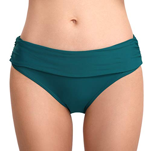 FEOYA Damen Faltig Bikinislip Slip Badeshorts Badeslip Bottom Unterteil Panty Höschen Hipster Brazilian Kurze Hose Rüsche Design Grün XL
