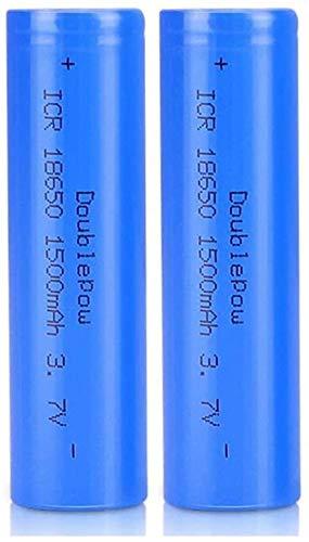WSPY 2 Pcs Pilas Recargables 18650 Litio Lones Batería 3.7V 1500mah Capacidad Baterías de Litio Células Acumuladoras para LED Linterna Antorcha Timbre de Puerta Azul