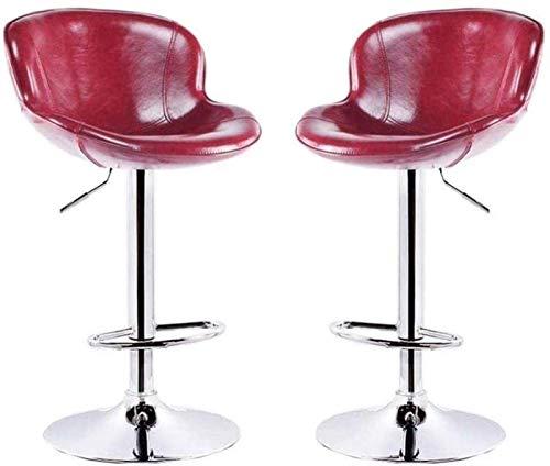 Taburetes De Bar Modernos Taburetes De Comedor Par Taburete De Cocina de barras Conjunto de 2 silla de comedor de desayuno con asiento de PU Ajustable Altura y rotación Adecuados, Cocina roja Cocina d