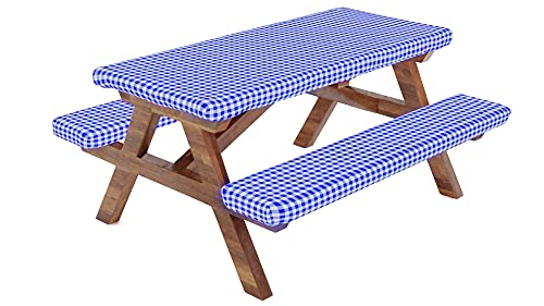 Fitted Picnic Table Tablecloth Cover with Picnic Bench Covers, Fitted Tablecloth and Seat Covers, RV & Camper Accessories for Travel Trailers and Camping, Elastic Table Cover, 72X28 Inch,3 Piece