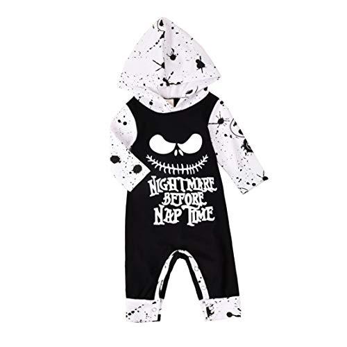 T TALENTBABY Neugeborene Kleidung Hoodide Trainingsanzug Tops Baby Jungen Mädchen Spider Hoodie Sweatshirt Halloween Kostüm Claus Outfits Sets, Schwarz Weiß, 0-6 Monate