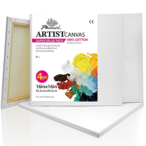 PHOENIX White Blank Cotton Stretched Canvas Artist Painting - 16x16 Inch / 4...