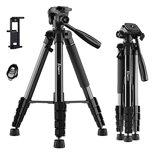 "KINGJUE 66"" Camera Tripod for Canon Nikon Lightweight Aluminum Travel DSLR Tripod Max Load 5kg with Carry Bag/2 in 1 Tablet Holder/Bluetooth Remote"