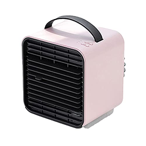 XHMJ Mini condizionatore d'Aria, Materiale ABS, Regolazione della velocità del Vento a Tre Livelli, USB a Basso Rumore Ricaricabile, Adatto per dormitorio/Ufficio ECC, Pink