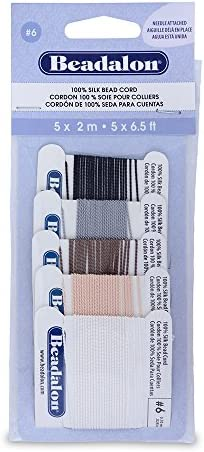 Bead Cord 100/% Natural Silk Thread with a Needle attached \u2013 Black 5 sizes for choice