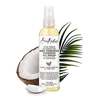 SheaMoisture 100% Virgin Coconut Oil For All Hair Types Daily Hydration Finishing Oil Serum Silicone-Free 4 oz