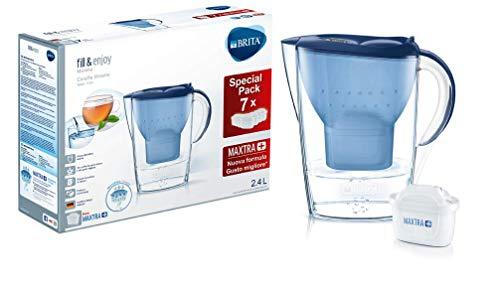 Brita Marella Kit Caraffa con 7 Filtri Maxtra+ Inclusi, Plastica, Blu, 2,4 Litri