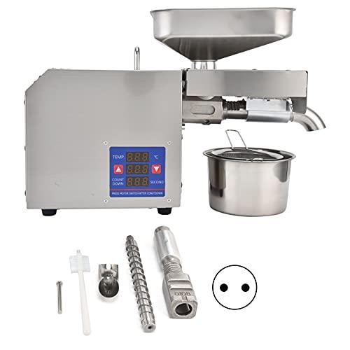 Máquina de prensado de aceite, extractor de aceite de acero inoxidable de prensado automático industrial comercial, control inteligente de temperatura para el hogar, semillas de cereales,(rosado)