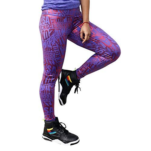 Zumba Active Wide Waistband Dance Fitness Workout Metallic Leggings for Women, Purple Pop, M