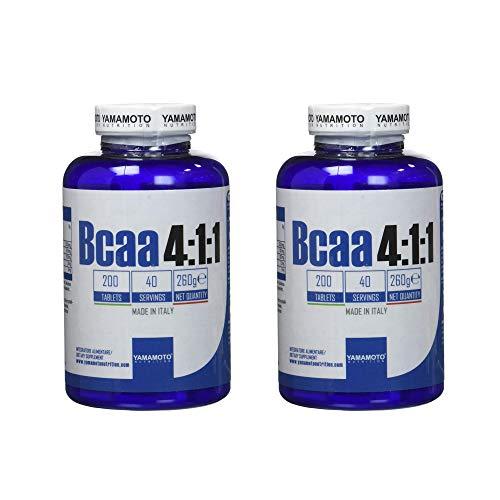 Yamamoto Nutrition BCAA 4:1:1 integratore alimentare di aminoacidi ramificati (BCAA) in rapporto 4:1:1 (2 confezioni (400 compresse))