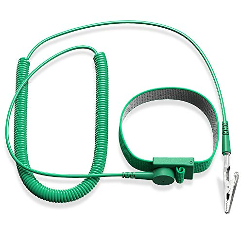 Anti Static Wrist Strap Band, ESD Strap Anti Shock Wristband Bracelet with Grounding Wire, Alligator Clip, Extendable Long Cord