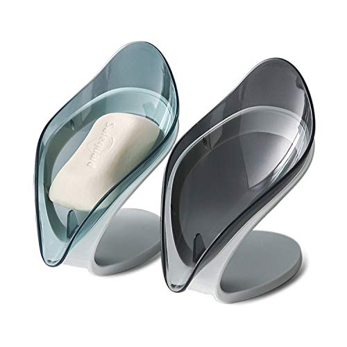 Endoto® 2 Stück Seifenschale, Blattform Seifenschale mit Abfluss, Seifenablage für Bad, Küche, Keep Seife Bars Dry & Clean, einfache Reinigung