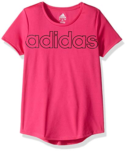 adidas Girls' Big Short Sleeve Scoop Neck Tee T-Shirt, Magenta Linear Black, Large